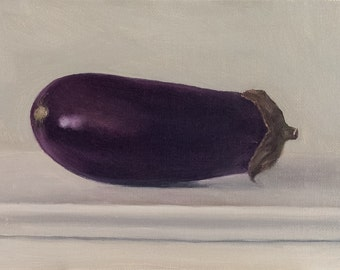 """Oil painting: Eggplant 6x4"""", Still life painting"""