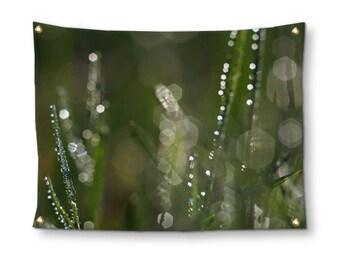 Green Grass Wall Tapestry, Wall Hanging, Abstract Bokeh Photograph, Horizontal Wall Decor, Macro Photography, Beach Blanket, Garden Flag