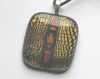 Dichroic Glass Necklace, Dichroic Glass Pendant,  Fused Glass Necklace, Art Glass Necklace, Dichroic Glass, Fused Glass, Necklaces, D233