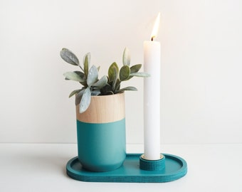 Candle holder with a tray funcion for wooden vase - Home Decor