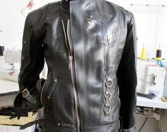 Men's Jacket Handmade from Recycled Leather and Inner Tubes