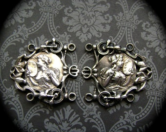 antique metal lady cameo set of 2, artist palette and brush, vintage jewelry finding, metal belt links, vintage jewelry supply, Anvils Attic