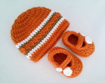CLEARANCE! RTS 0 to 3 Months Baby Striped Beanie Hat & Mary Jane Booties - Orange, Brown, White