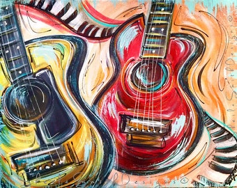 "Funky, colorful Guitar Painting, Music Art on stretched canvas ""The Duet"" by Sheila Ann Smith"