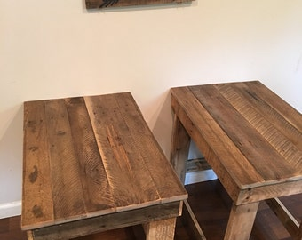 Rustic wood end table sofa table entry way table recycled wood
