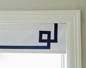 "Straight Valance.  White Twill With A Greek Key Ribbon Design.  Custom Sizing Available Up To 54"" Wide."