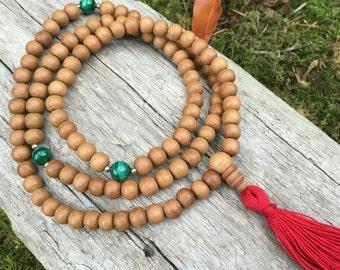 Sandalwood Mala with AAA Malachite Buddhist Mala Prayer Beads Yoga Meditation Beads Aromatic B045