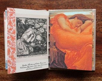 Handmade book, coptic stitch book, artist gift, writers gift, Pre-Raphaelites, stocking stuffer