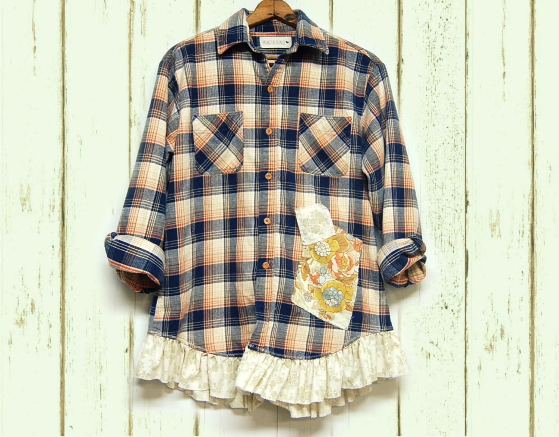 Plus size flannel plaid shirt shabby boho chic gussied up for Plus size plaid flannel shirt