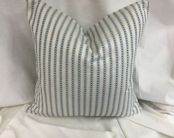 Designer Decorative Throw Pillow Embroidered Blue Stripe