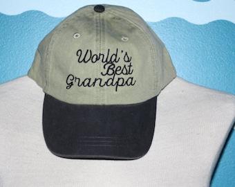 World's best grandpa baseball cap - grandpa ball cap - baseball hat for grandpa - custom embroidered hat
