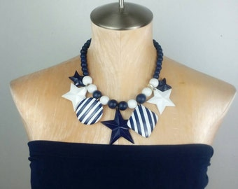 STARS and STRIPES Rockabilly Necklace Pinup Necklace