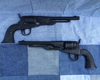 Vintage Pistol Guns, Pair, Cast Iron, Flat Back Half Guns, Wall Hanging, Western Home Decor, NOT REAL GUNS