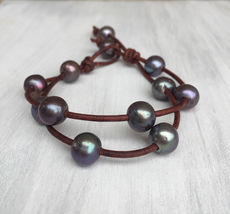 leather freshwater pearl bracelet freshwater by carolinelenox. Black Bedroom Furniture Sets. Home Design Ideas