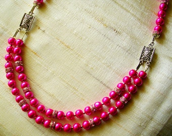 Double strand Pink Pearls Necklace