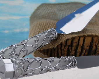 Silver and White Scroll Knife and Server Set/ Anniversary Knife and Server Set