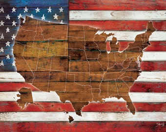 "MA2075 - American Flag USA Map - 24"" x 18"""