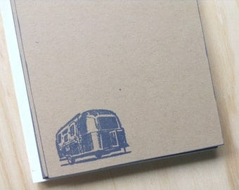 vintage inspired flat note cards and envelopes, stationery set, airstream, retro camper, set of 10
