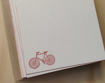 vintage bicycle note cards, vintage inspired flat note cards and envelopes,  stationery set, set of 10