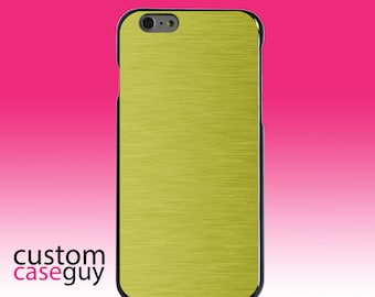 Hard Snap-On Case for Apple 5 5S SE 6 6S 7 Plus - CUSTOM Monogram - Any Colors - Yellow Stainless Steel Print