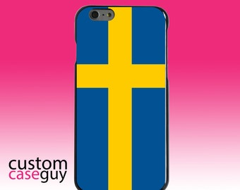 Hard Snap-On Case for Apple 5 5S SE 6 6S 7 Plus - CUSTOM Monogram - Any Colors - Sweden Flag