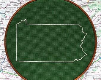 State of Pennsylvania map, CROSS STITCH PATTERN