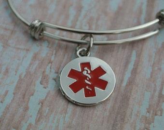 Medical Alert Bracelet.  Stainless Steet Adjustable Bangle, Medical Alert Charm.