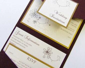 Pocketfold Wedding Invitation with crystal floral pattern | Floral Wedding Invitations | Swarovski Crystal Wedding Invite