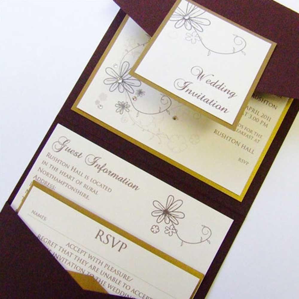 Wedding Invitations Pocketfold: Pocketfold Wedding Invitation With Crystal Floral Pattern