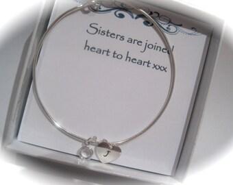 Sterling Silver Sisters Birthstone Swarovski Crystal Bangle