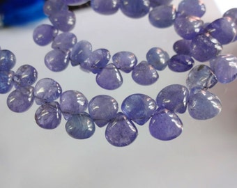 Natural Tanzanite smooth plain heart shape size 5.5-8.5mm sold per 8-inch strand GW1077