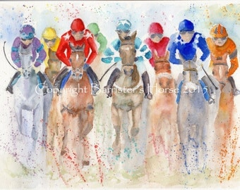 Horseracing, equestrian fine art, Giclee Watercolour Painting Print A4. Archival quality inks