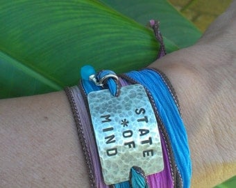 Inspirational Hand Stamped Silk Ribbon Bracelet, Silk Ribbon Wrap, Boho Chic Silk Ribbon Wrap, Religious Jewelry, Personalized Bracelet