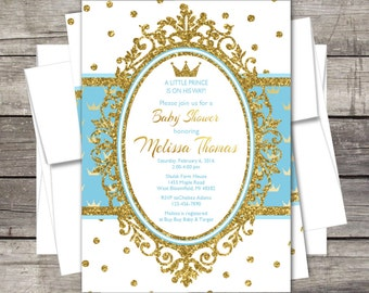royal prince baby shower invitation blue gold silver glitter crown customized