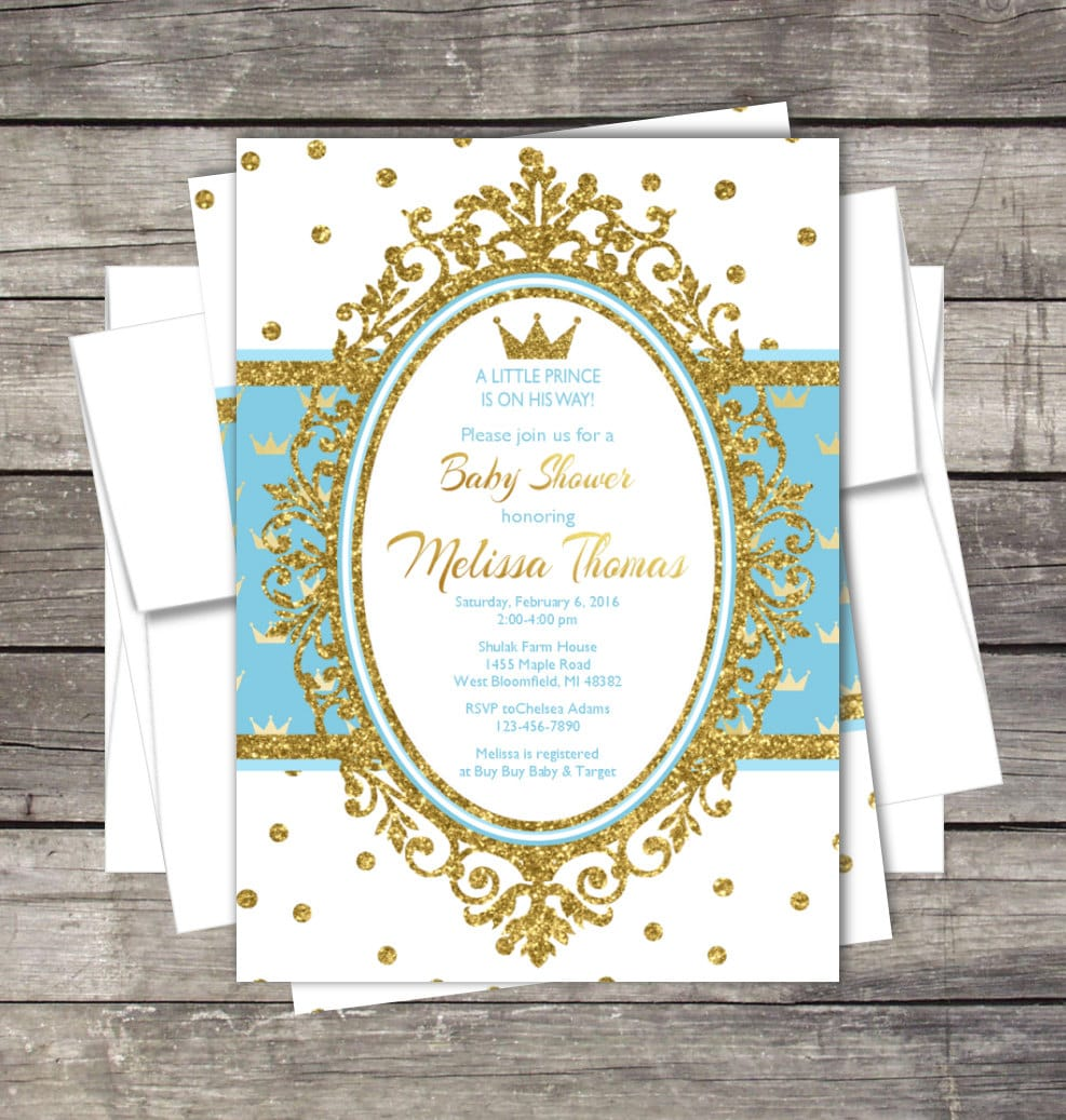 Crowns For Baby Shower: Royal Prince Baby Shower Invitation Blue Gold Silver