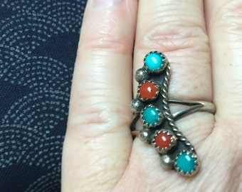 Ladies' Southwestern Native American Turquoise and Coral Ring