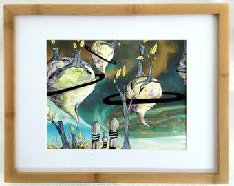 Illustration, Children's Art, Art Print, Watercolor & Ink, Digital Art, Roots, Family, Planets, Surreal, Fantasy