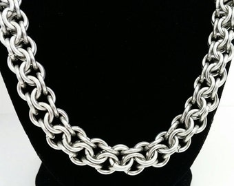 Inverted Round Chainmaille Necklace, Stainless Steel