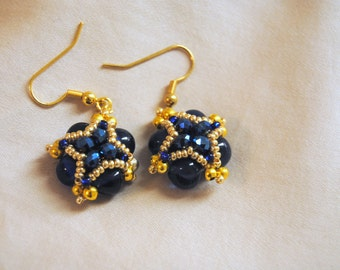 Blue and Gold Royal Earrings