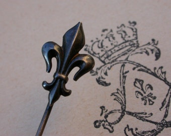 French antique 19th century sterling silver hand made Lys flower Royal King Kingdom France symbol military Tie Hat pin