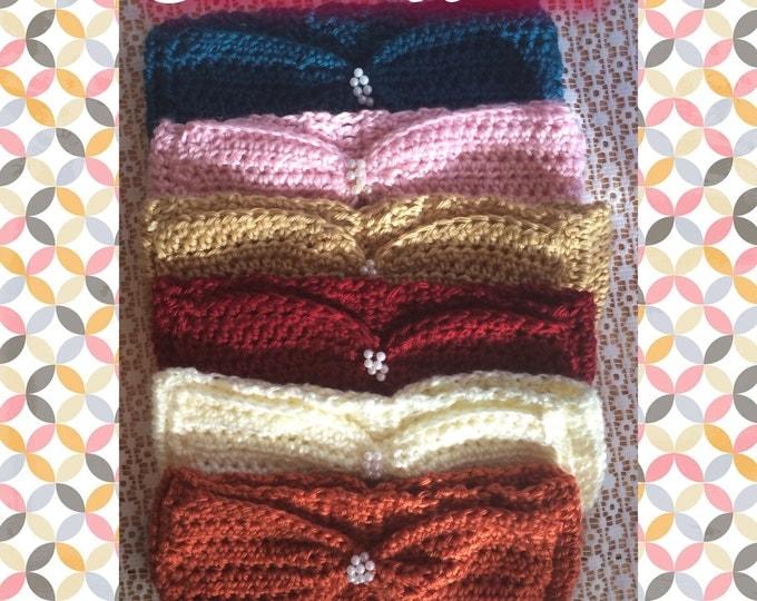 Bow Headbands-Fall Earwarmers-Crocheted Hairbands-Womens Headwraps-