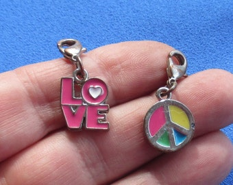 Retro Love Peace Sign Enameled Metal Charms With Clasp