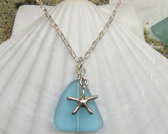 Coastal Necklace- Aqua Sea Glass with Starfish - Beach Necklace