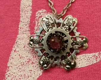 Steampunk Flower Pendant Gear Necklace