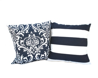 Two navy Blue pillow covers, cushion, decorative throw pillow, decorative pillow, accent pillow, 18x18 pillow, pillow case
