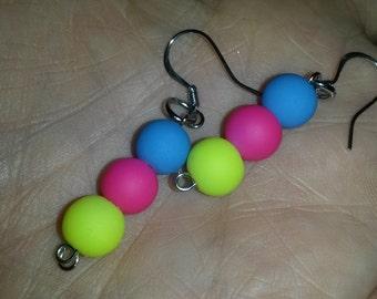 Neon pearl earrings