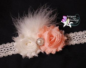 Peach Ivory Shabby Flower Pearl Rhinestone Feather Headband, Vintage Headband, Newborn Headband, Flower Girl, Wedding, - SB-005d