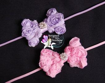 Lavender Pink Chiffon Rose Bow Rhinestone Skinny Headband, Baby Headband, Baby Toddler Girl, Vintage - SB-057