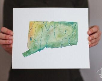 Connecticut Watercolor State Map, Original Painting, Art Print
