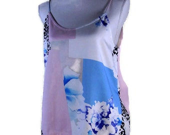 TOPS & TEES, Pastel silk top, floral blouse, womens clothing, floral halter top, vintage top, printed tank top, tunic top, floral tunic top,